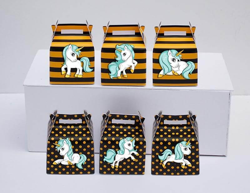 Tem hộp quà unicorn boy màu vàng đen