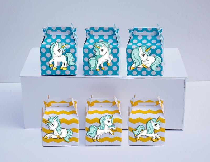 Tem hộp quà Unicorn boy màu xanh min vàng