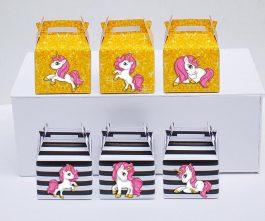 Tem hộp quà unicorn girl màu đen kim tuyến