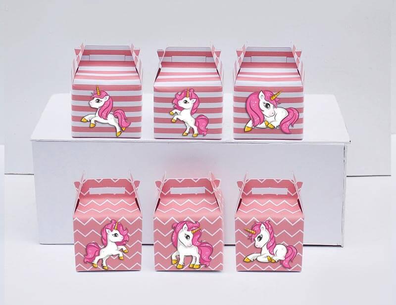Tem hộp quà unicorn girl màu hồng hoàng gia