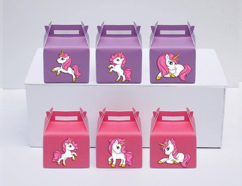 Tem hộp quà unicorn girl màu hồng tím