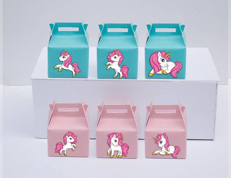 Tem hộp quà unicorn girl màu tím xanh min