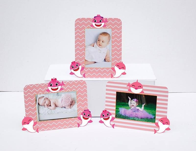 Tem khung ảnh sinh nhật Baby Shark Gái hồng hoàng gia