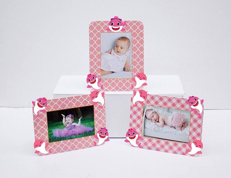 Tem khung ảnh sinh nhật Baby Shark Gái hồng lưới