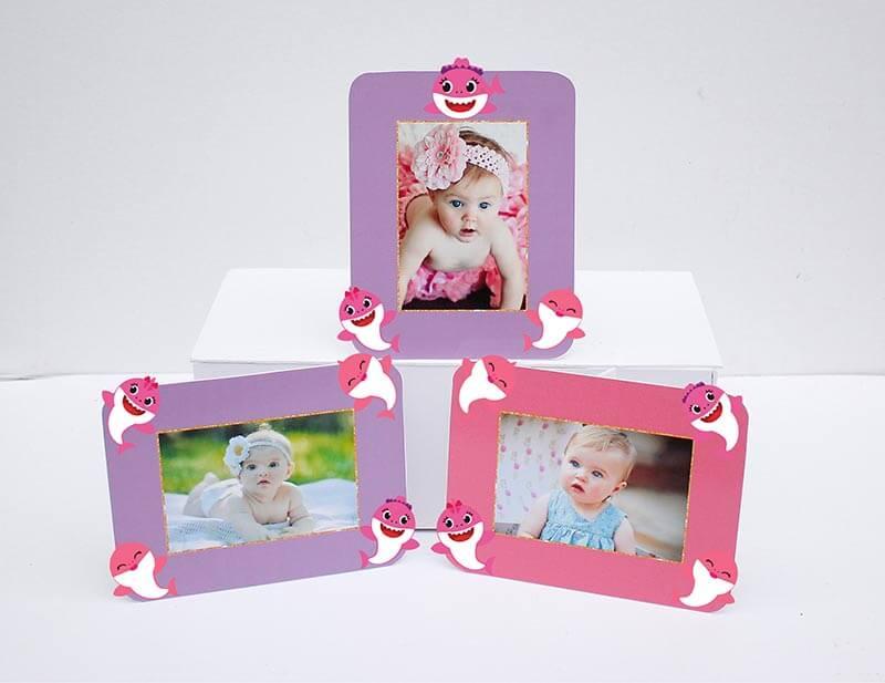 Tem khung ảnh sinh nhật Baby Shark Gái hồng tím