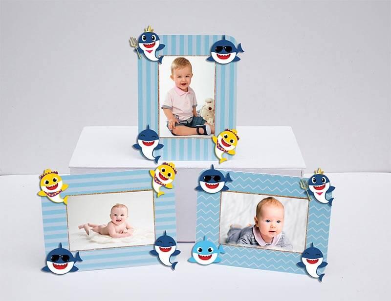 Tem khung ảnh sinh nhật Baby Shark Trai màu xanh da trời