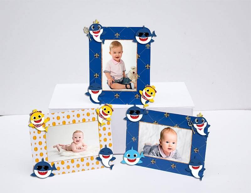 Set khung hình sinh nhật Baby Shark boy màu xanh hoàng gia