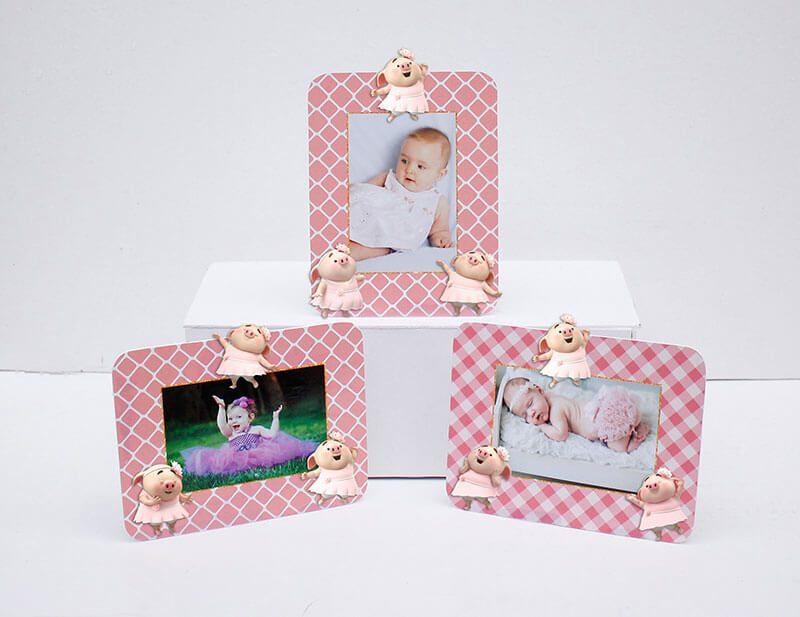 Set khung hình sinh nhật Heo gái màu hồng lưới