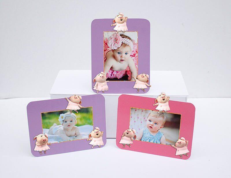 Tem khung ảnh sinh nhật bé heo gái màu hồng tím
