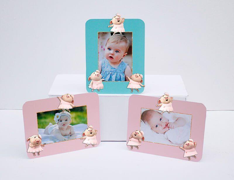 Tem khung ảnh sinh nhật bé heo gái màu hồng xanh mint