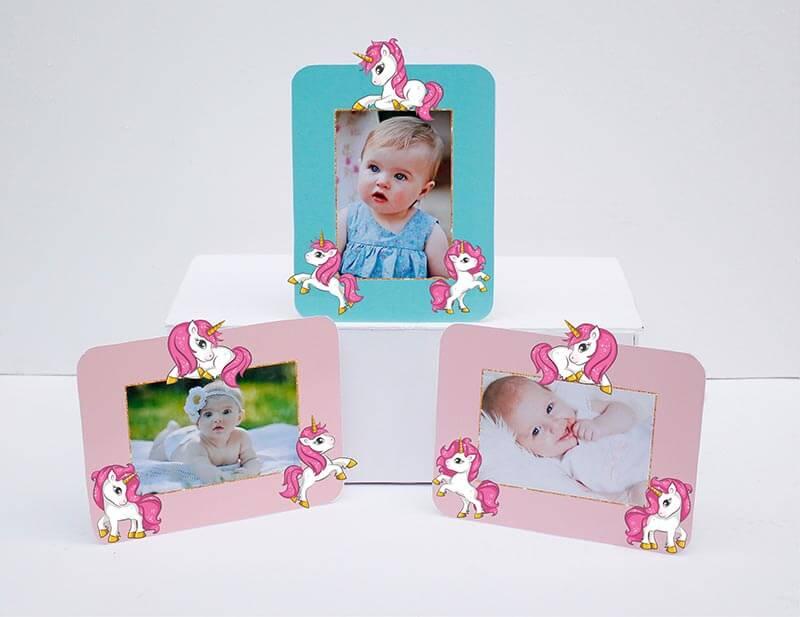 Set khung hình Unicorn Girl màu hồng xanh min
