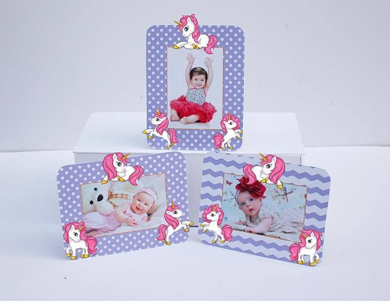 Set khung hình Unicorn Girl màu tím chấm bi