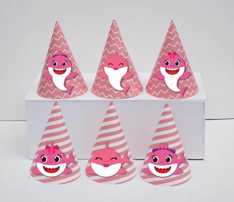 Set nón sinh nhật baby shark girl màu hồng hoàng gia