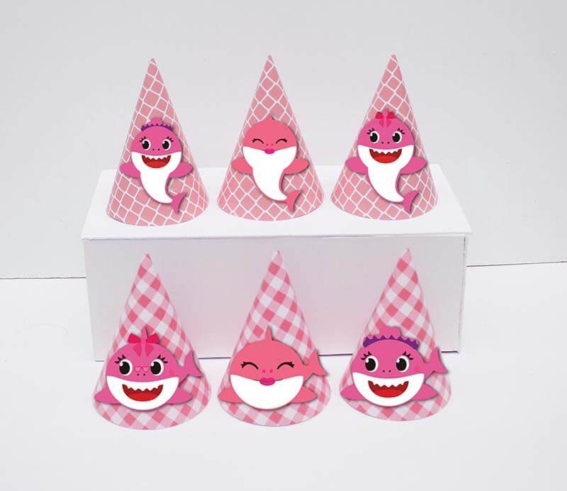 Set nón sinh nhật baby shark girl màu hồng lưới