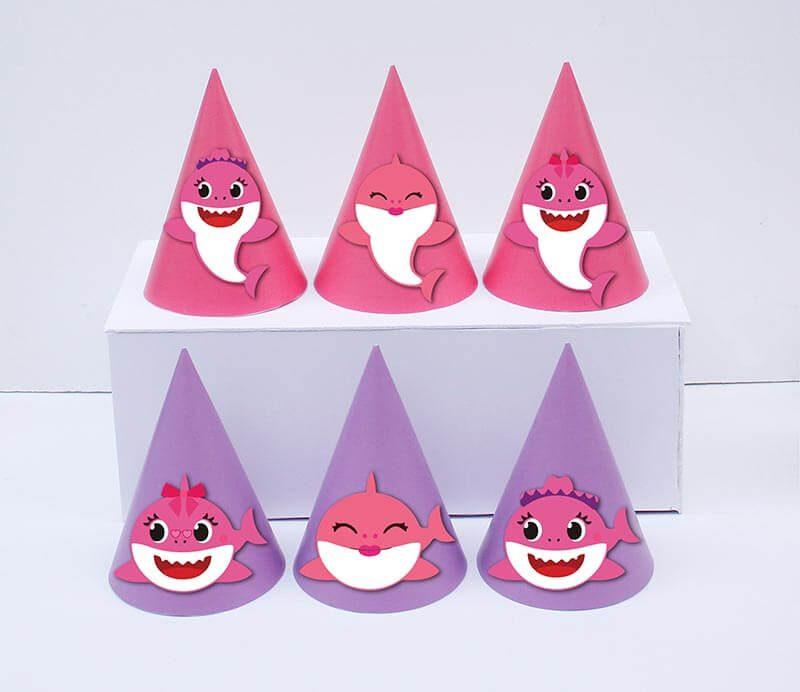 Set nón sinh nhật baby shark girl màu hồng tím