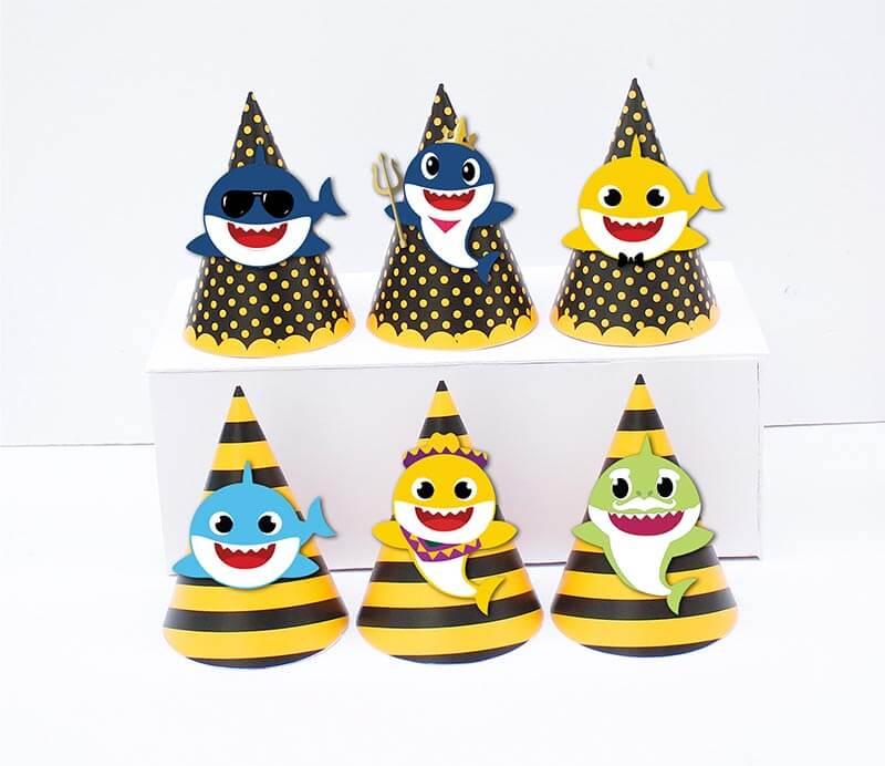 Tem nón sinh nhật Baby Shark Trai màu vàng đen