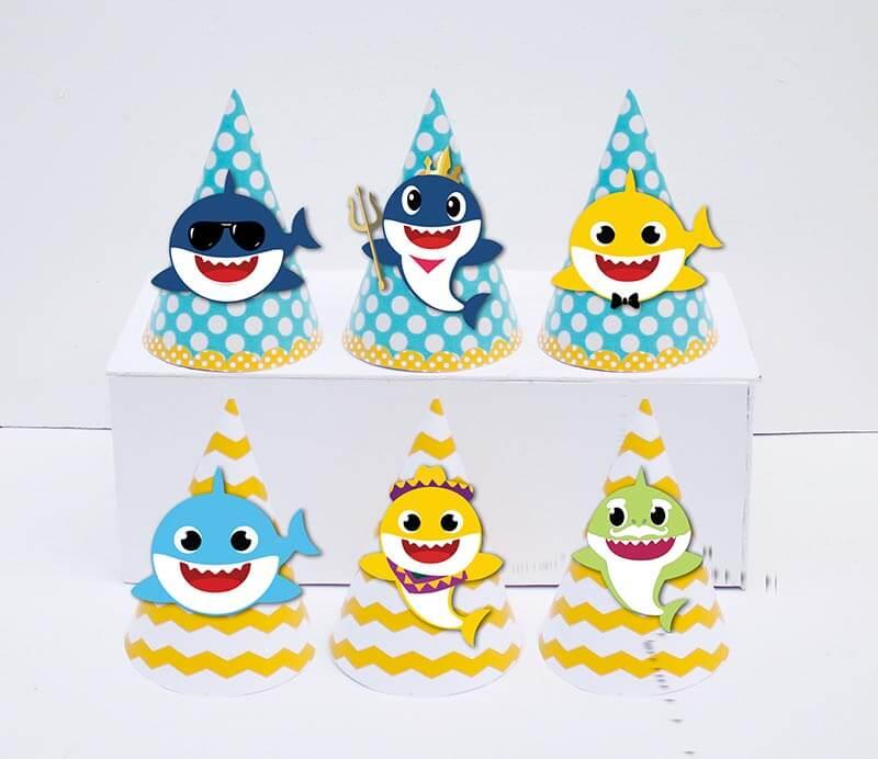 Set nón sinh nhật Baby Shark Boy màu vàng zigzag