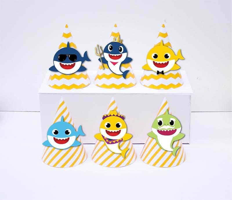 Set nón sinh nhật Baby Shark Boy màu xanh da trời