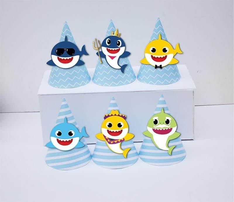 Tem nón sinh nhật Baby Shark Trai màu xanh da trời