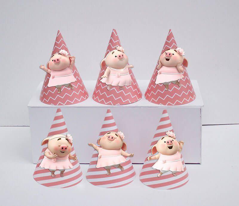 Set nón sinh nhật heo gái màu hồng hoàng gia