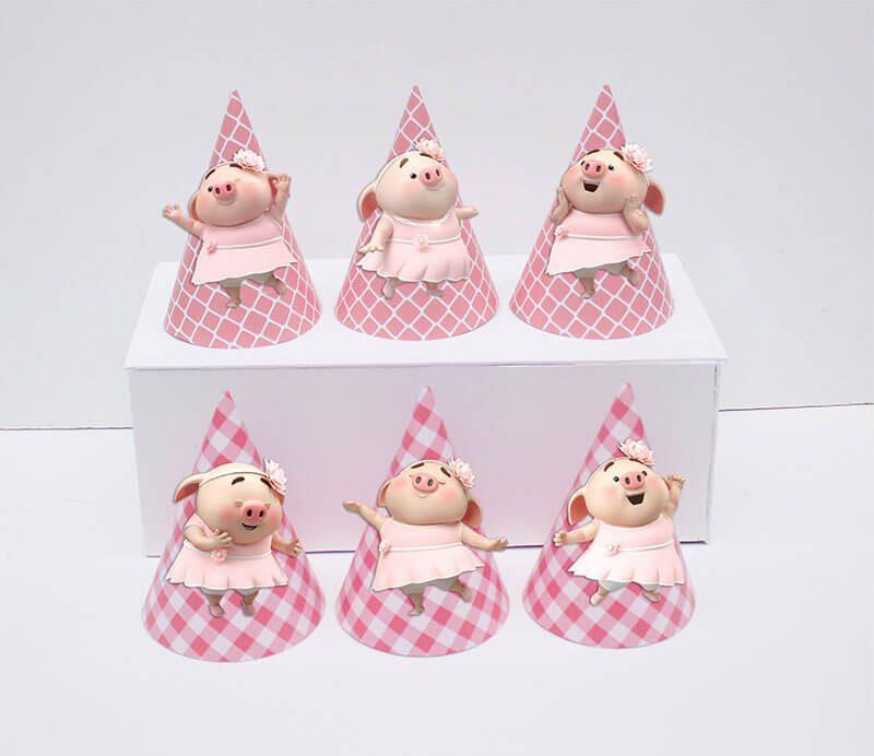 Set nón sinh nhật heo gái màu hồng lưới