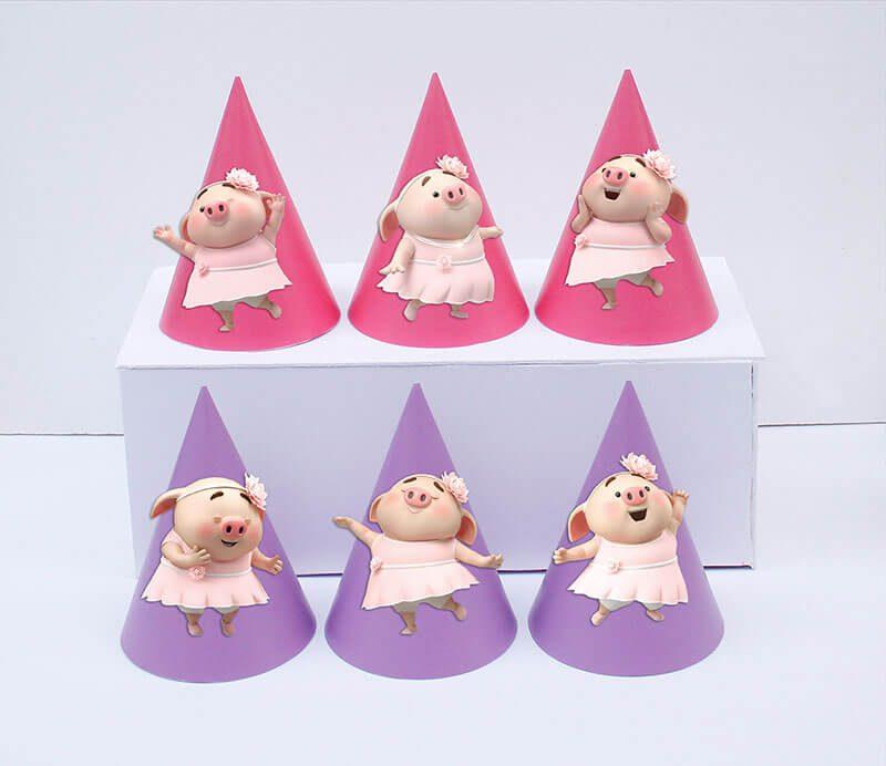 Set nón sinh nhật heo gái màu hồng tím