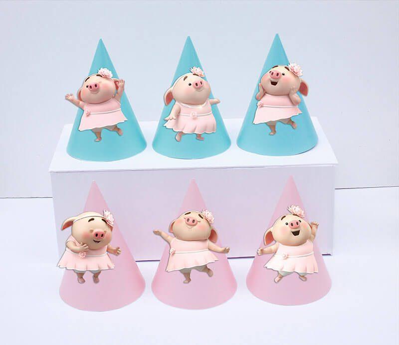 Set nón sinh nhật heo gái màu hồng xanh min