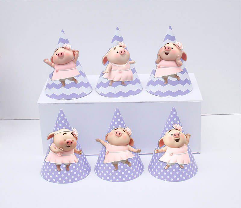 Set nón sinh nhật heo gái màu tím chấm bi
