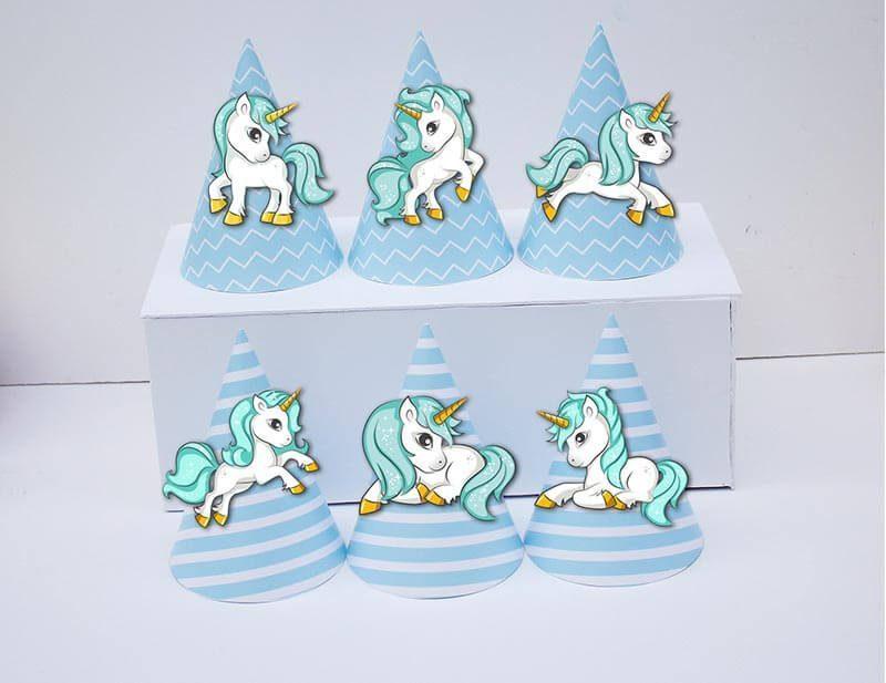 Set nón sinh nhật Unicorn Boy màu xanh da trời