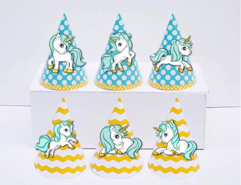 Tem nón Unicorn Boy màu xanh min vàng
