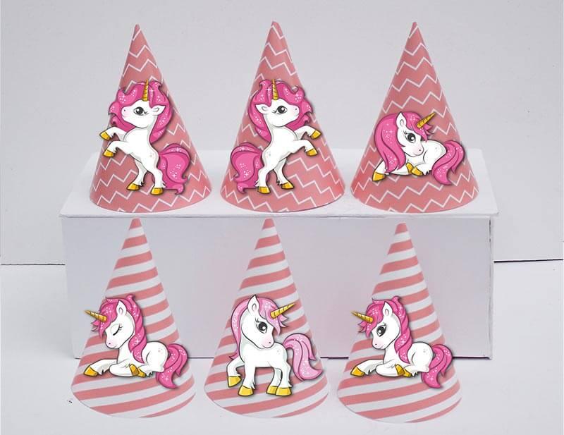 Tem nón unicorn girl màu hồng hoàng gia