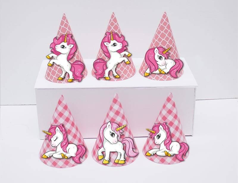 Tem nón unicorn girl màu hồng lưới