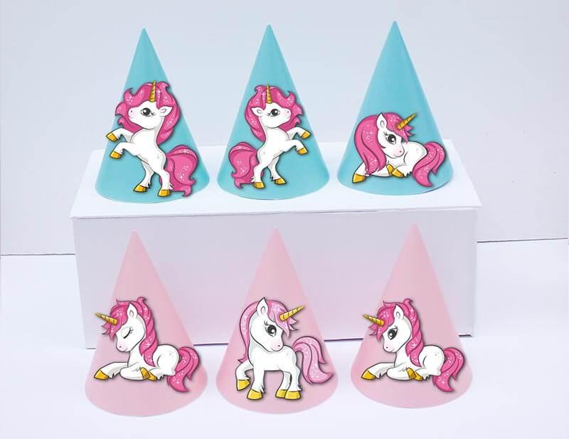 Set nón Unicorn Girl màu hồng xanh min