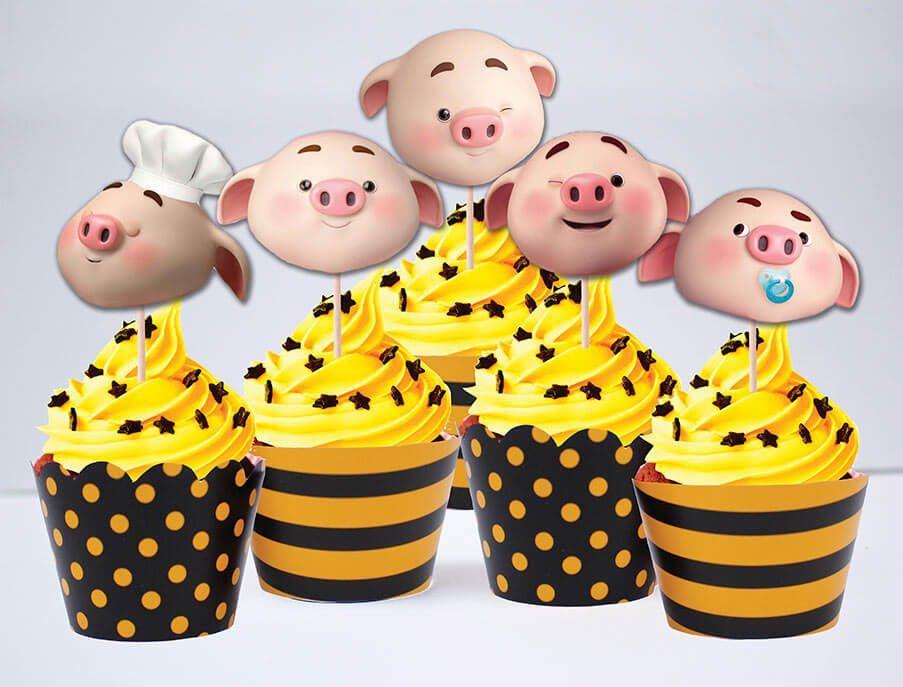 Tem bánh cupcake bé heo trai màu vàng đen