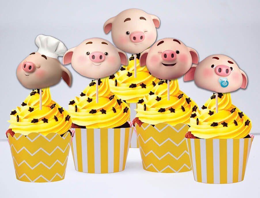 Tem bánh cupcake bé heo trai màu vàng hoàng gia