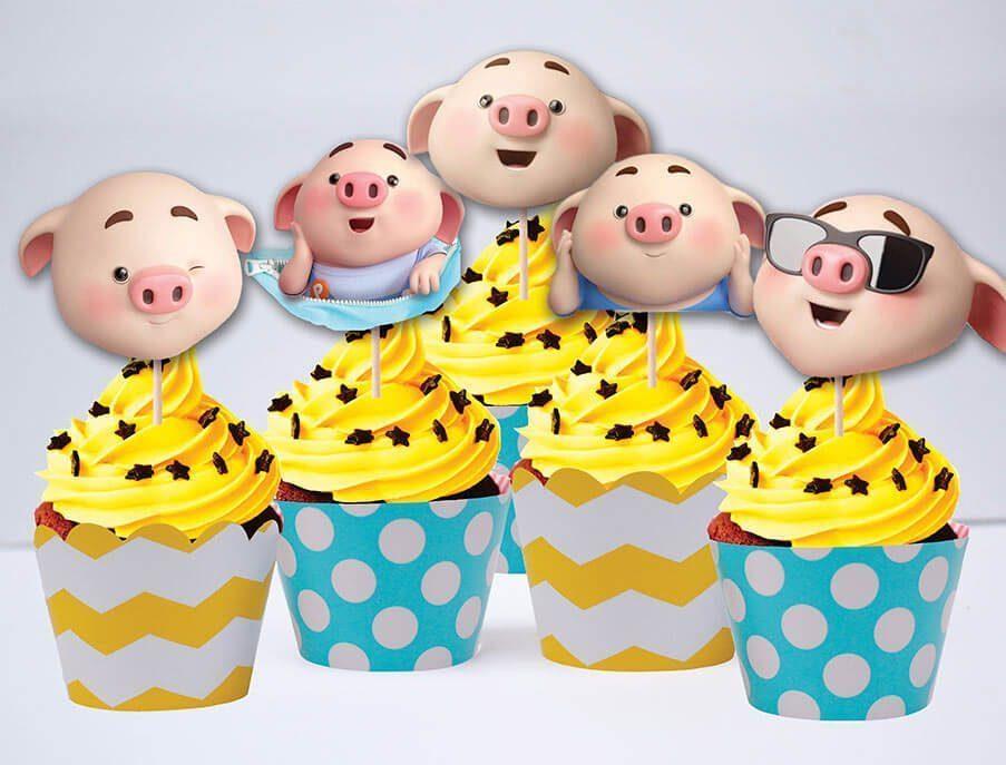 Tem bánh cupcake bé heo trai màu xanh min vàng