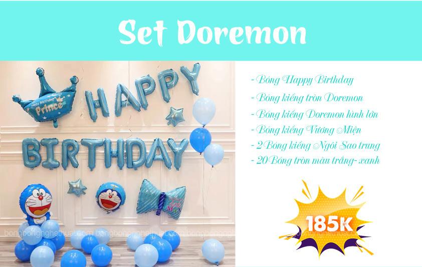 Chi tiết set bong bóng kiếng Doraemon