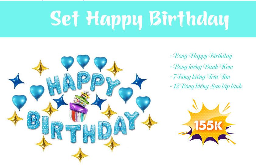 Chi tiết set Happy Birthday màu xanh