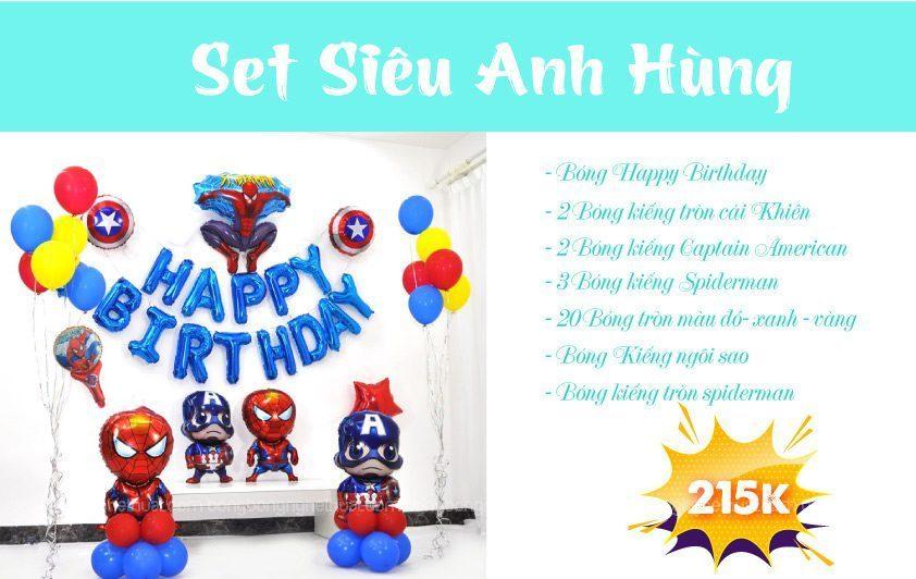 Set bong bóng kiếng sinh nhật cho bé Avenger