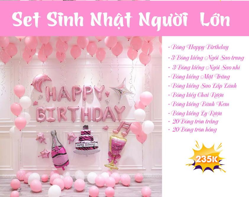 Chi tiết set bong bóng sinh nhật người lớn màu hồng