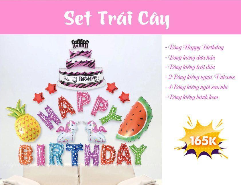 Set bong bóng trang trí sinh nhật trái cây