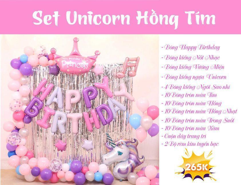 Chi tiết set bong bóng sinh nhật Unicorn màu hồng tím