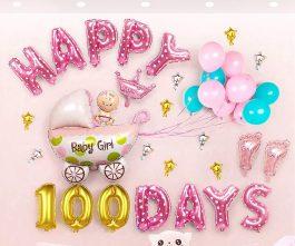 Trang trí 100 ngày baby girl