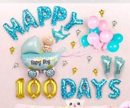 Trang trí 100 ngày baby boy