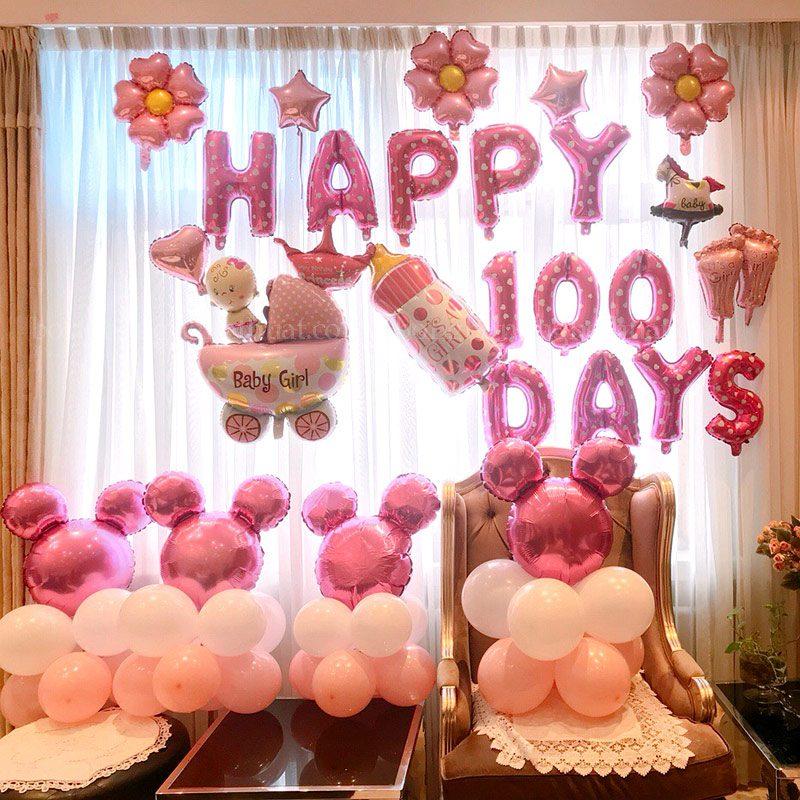 Trang trí 100 ngày cho bé yêu