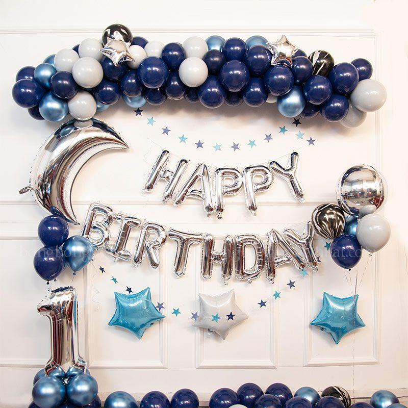 Trang trí sinh nhật 1 tuổi màu xanh đậm