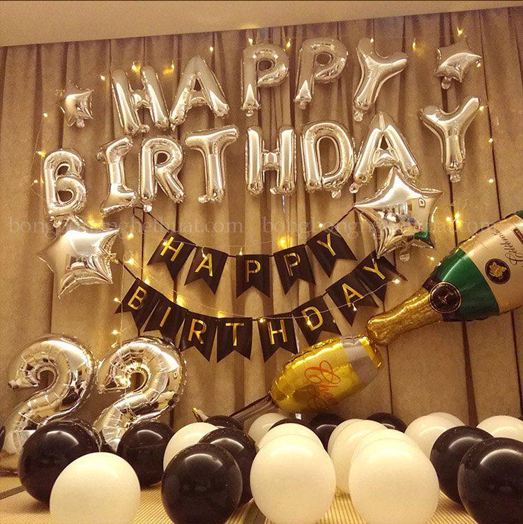 Trang trí sinh nhật 22 tuổi màu bạc