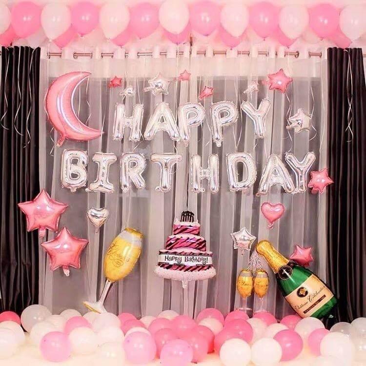 Trang trí sinh nhật bạn gái màu hồng