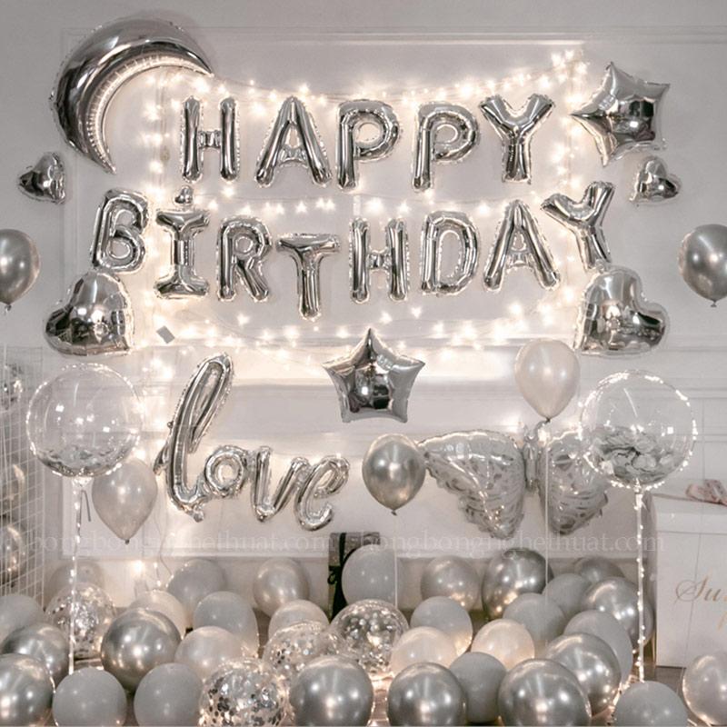 Trang trí sinh nhật người yêu ánh bạc sang trọng