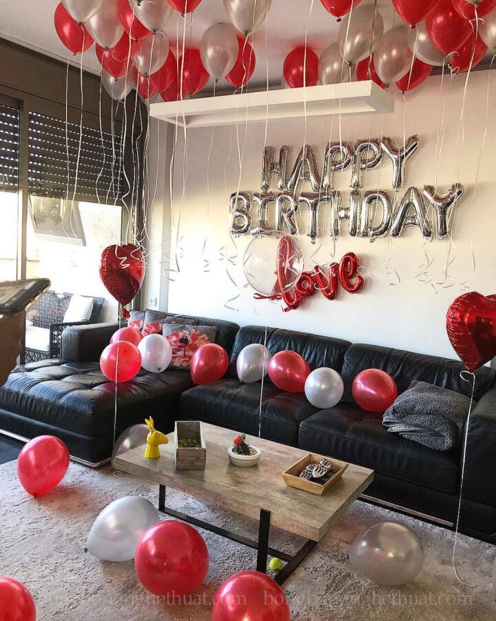 Trang trí sinh nhật người yêu tại phòng khách